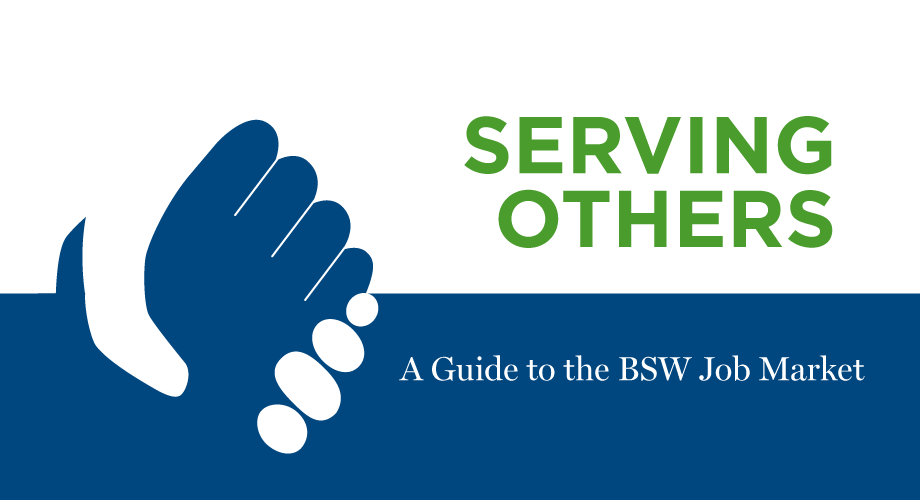 "Cover image for ""Serving Others: A Guide to the BSW Jobs Market"" where two hands are clasped."