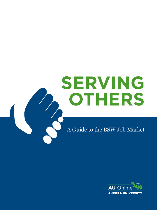 "Cover image for BSW job market guide ""Serving Others""."