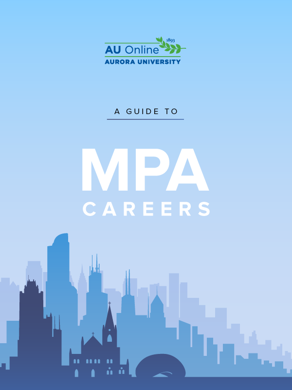Illustrated cover for MPA Guide. City building silhouettes in three shades of blue with white title.