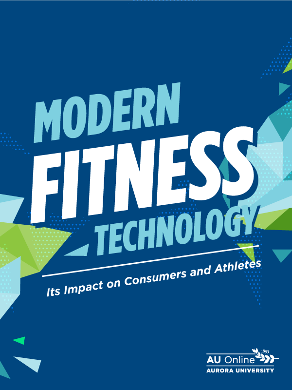 "Cover page for guide ""Modern Fitness Technology: Its Impact on Consumers and Athletes"" with geometrical shapes in blues and greens."