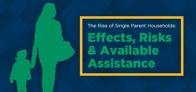 The Rise of Single Parent Households - header image with silhouette of mother and child.