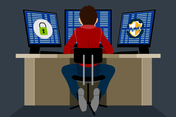 Illustration of young man in a hoodie sitting in front of three computer screens covered in code and symbols for cybersecurity.