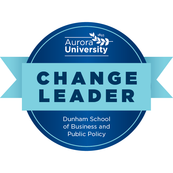 Aurora University's Change Leader Badge